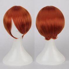 Multicolor Short Oblique Bang Straight Cosplay Synthetic Wig