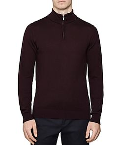 Reiss Blackhall Funnel Quarter-zip Sweater In Bordeaux Half Zip Pullover, Zip Sweater, Men Looks, Bordeaux, Sweaters, Jackets, Shopping, Clothes, Pullover