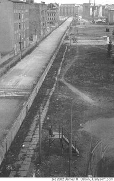 The Death Zone, view to Zimmerstrasse. East Berlin is situated on the left side. April 1963