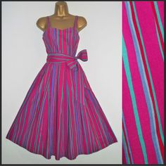 LAURA ASHLEY Vintage Swing Full Circle Striped Wedding Jive Dress Sz 14 12 New Immaculate! £225.