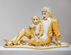 Jeff Koons, Michael Jackson and Bubbles, 1988; sculpture; ceramic, glaze, and paint