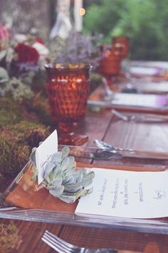 woodland tablescape // photo by Amy Wallen // view more: http://ruffledblog.com/woodland-bohemian-wedding-ideas