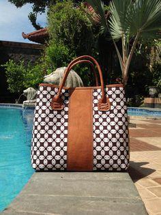 Arimbi leather top handle bag with Kawung Batik combination