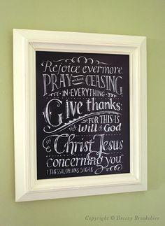 Rejoice Evermore - Chalkboard Art Print Bible Verse - 8x10. $25.00, via Etsy.