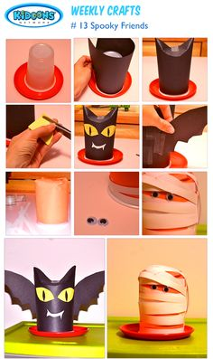 #Halloween crafts: Spooky and cute, these halloween friends will add some hair-raising vibe to your home's Halloween decor! All you need is couple of plastic cups and crafts paper.