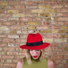 carmen 80s red wool wide brim hat / boho / by arsenickittyvintage