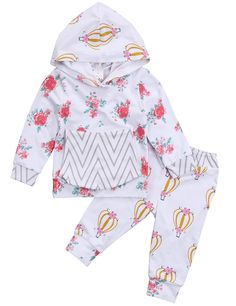 Newborn Baby Girls Fall Winter Hoodie Outfit Floral Balloon Sweatshirt Top and Long Pants Set (12-18M, White)