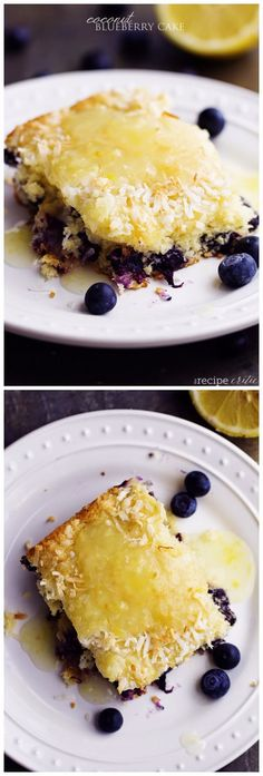 Coconut Blueberry Cake with a Lemon Sauce ~ Best Recipe Photos