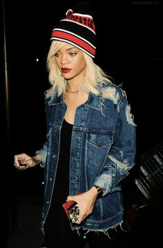 the distressed denim jacket would go well with a pleated skirt and lace top