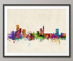Birmingham England Skyline Art Print  12x16 up to by artPause, £12.99