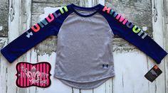 Under Armour Girls UA Rainbow Navy Sleeve Top Size 2T-6x