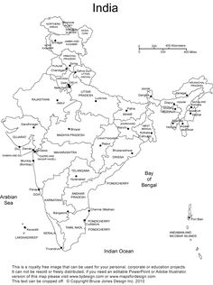 Map Of India Without Names blank political map of india without ...