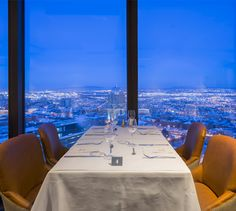 LEMAYMICHAUD | CIEL | Québec | Architecture | Design | Restaurant | Eatery | Hospitality | Bistro | Bar | Natural light | View | Sky | Seating | Chairs | Tables Bistro, Ciel, Architecture Design, Tables, Restaurant, Bar, Table Decorations, Dinner, Home Decor