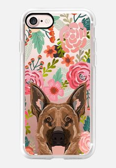 Casetify iPhone 7 Classic Grip Case - German Shepherd florals cute flower cell phone case with German Shepherd transparent iphone6 case  by Pet Friendly #Casetify