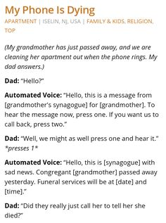 Synagogue calls a grandmother to inform her she has died.