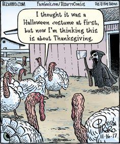 Death Cartoon: The Grim Reaper for Turkeys Funny Cartoon Pictures, Cartoon Jokes, Funny Cartoons, Funny Comics, Funny Memes, Hilarious, Bizarro Comic, Grim Reaper Cartoon, Thanksgiving Cartoon