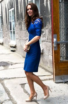 "Canada Day 4: #Katemiddleton Kate Middleton dazzled in a cobalt blue lace detail ""Jacquenta"" dress by Canadian designer Erdem paired with four-inch nude platform stilettos. Finishing off the royal's weekend look? A mock-croc clutch bag and sapphire earrings."