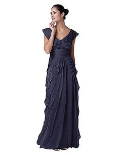 This stunning evening dress by Adrianna Papell features soft chiffon material and a surplice neckline in the front and back. Strategic, delicate tiers run down the skirt of this dress while the bodice is highlighted by slanted shutter pleats. Color options: Purple, brown Fit: Women's Type/length of sleeves: Sleeveless Waist details: Empire waist Neckline: Surplice Lining: Fully lined Closure: Back zipper with hook-and-eye clasp The approximate length from the top center back to the hem is 53…