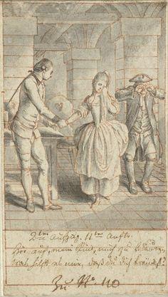 Daniel Nikolaus Chodowiecki | Louise en haar vader Johann Ludwig bezoeken Alexis in de gevangenis, Daniel Nikolaus Chodowiecki, 1770 - 1775 | Ontwerp voor een prent.