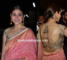 Anushka Sharma in Manish Malhotra Saree – South India Fashion Gold Blouse, Sexy Blouse, Saree Dress, Saree Blouse, Manish Malhotra Saree, Peach Saree, Indian Blouse, Indian Wear, Kurti Neck Designs