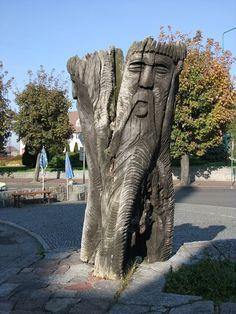 Statue of the Slavic god Trygław/Trzygłów (Triglav) in Wolin, Poland [source].