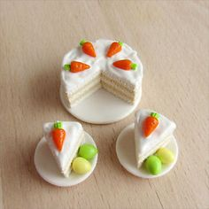 Easter Carrot Cake Dollhouse Miniature Material: polymer clay; safe and non-toxic! 1:12 scale