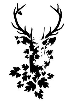 stag head stencil 1 (possible large applique for the center of a quilt) …