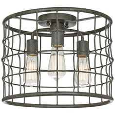 """Dunmore Industrial Cage 15"""" Wide Galvanized Ceiling Light"""