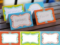 Free Printable menu cards that could also be used as tags or labels.  Love the color combos.