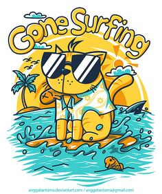 Gone Surfing by angga tantama, via Behance Kids Vector, Cat Vector, Vector Art, Funny Illustration, Character Illustration, Graffiti Characters, Cool Cats, Lettering, Doodle Art