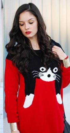 Slim Cat Cartoon Images Red Sweater - Sheinside.com #SheInside