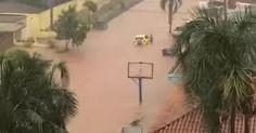 Homem resgata família pela janela de carro durante temporal no DF; vídeo