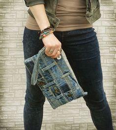 Denim wristlet clutch make up cosmetic zipper bag pouch case recycled summer mini