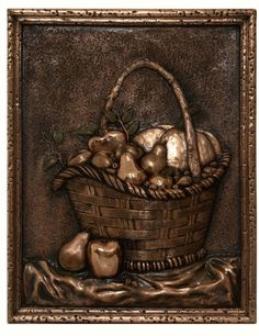 Fruit Basket metal backsplash mural.