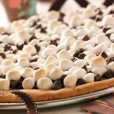 Peanut butter, chocolate chip, and marshmallow cookie pizza. So good! Originally from an old Pillsbury kid's cookbook.
