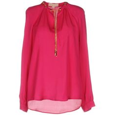 Michael Michael Kors Blouse (260 CAD) ❤ liked on Polyvore featuring tops, blouses, fuchsia, fuchsia pink tops, v-neck top, pink top, fuschia top and michael michael kors tops