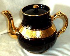 Sevres Gibson & Sons Tea Pot Davenport Engraved Gold Gilt & Black