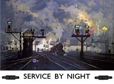 "Marilyn Terrell‏ @Marilyn_Res · 3h3 hours ago      More                                     ""Service by Night"" by David Shepherd for British Railways, 1955."