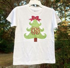 Glitter Monogrammed Christmas tree T Shirt by PoshPrincessBows1
