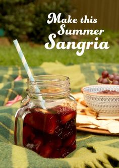 Citrus Summer Sangria in a mason jar