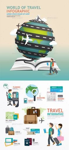 Set of World Travel Template Design (JPG Image, Vector EPS, CS, airplane, bag, baggage, boarding, book, brochure, business, calendar, card, design, diagram, earth, elements, graphic, guide, icon, idea, illustration, info, journey, luggage, map, passport, people, symbol, template, ticket, travel, vector, world)