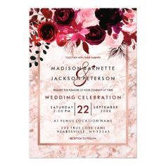 Rose Gold & Burgundy Floral Wedding Invitations - tap, personalize, buy right now! #wedding #invitation #weddingideas #weddinginspiration  #flower #floral #botanical #garden #outdoor #nature #romantic #editable
