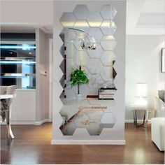 12pcs-Acrylic-Silver-3D-Hexagonal-Mirror-Wall-Stickers-Home-Decor-Removable-New