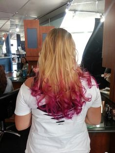 Pink hair tips with blonde hair