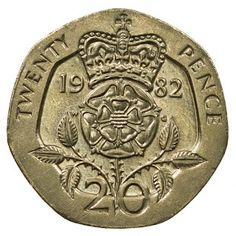Tudor Rose//Young Queen Elizabeth II RARE 1964 BRITISH 2 SHILLING//FLORIN COIN