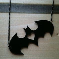 I heart Batman, Batman-Inspired Pendant, Black Acrylic on Etsy, $14.00 http://ziggacakedup.com/ This is cute but elegant. Me likey.