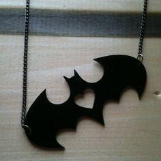 I heart Batman, Batman Logo Pendant, Black Acrylic. $15.00, via Etsy.
