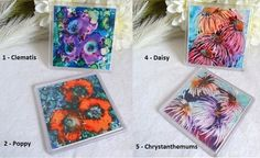 Coaster Pack  4 Choose from Clematis, Poppy, Crysanthemum or Daisy, Art Prints  £6.95