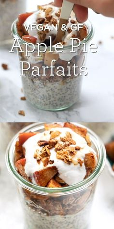 These delicious apple pie breakfast parfaits are a perfect morning treat. They taste like dessert but are full of healthy ingredients like chia and oats! Made in a jar. Easy recipe that is vegan and gluten free and great for make ahead or meal prep. #breakfastparfait #healthyparfait #applepie #veganbreakfast