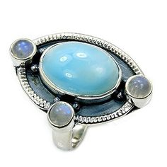 Oxidized Sterling Silver Natural Dominican Larimar, Moonstone Ring, Size 6.75  Price : $49.95 http://www.silverplazajewelry.com/Oxidized-Sterling-Silver-Dominican-Moonstone/dp/B00NU3V6CU